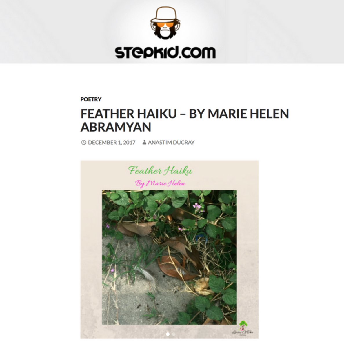 """Feather Haiku"" By Marie Helen Abramyan Published In Stepkid Magazine!"